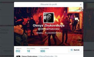 Capture du compte Twitter d'Olesya Zhukovskaya, une manifestante ukrainienne qui a annoncé sa mort en direct sur le réseau social, le 20 février 2014.