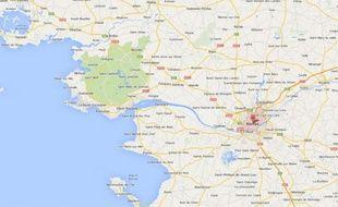 Capture d'écran Google map de Nantes (Loire-Atlantique).