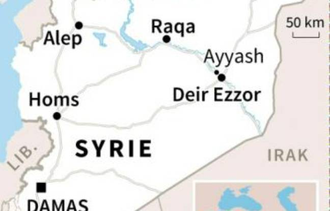 Carte de Syrie loaclisant Deir Ezzor et Ayyash