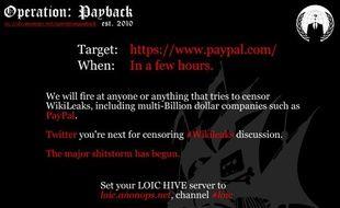 Un cyber-tract du groupe de hackers Anonymous qui appelle à des représailles pour défendre WikiLeaks