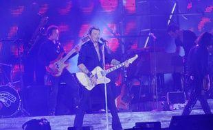 Johnny Hallyday en concert sous la Tour Eiffel, le 14 juillet 2009.