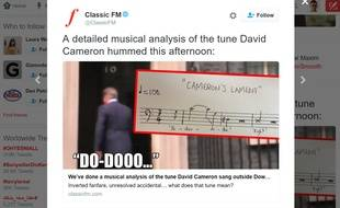 La partition des notes fredonnées par David Cameron le 11 juillet 2016.