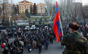 Des manifestations à Yerevan en Arménie.
