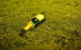 Une bouteille d'alcool dans l'herbe (illustration)