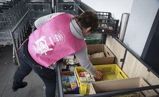 Une collecte devant un supermarché pour les Restos du Cœur, en mars 2019.