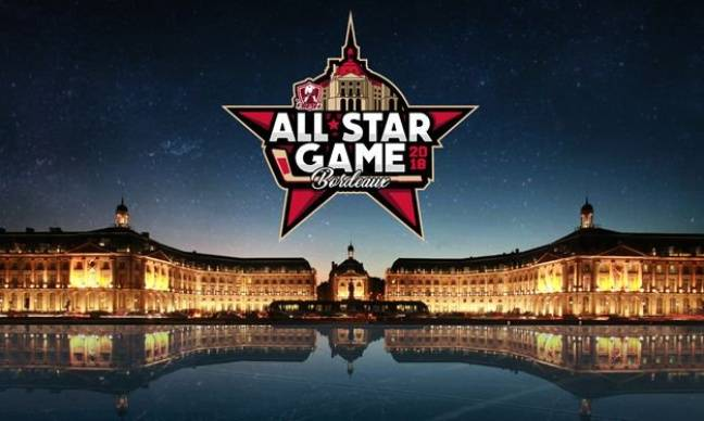 L'affiche du All Star Game de hockey avec la place de la Bourse à Bordeaux.