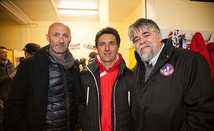 Fabien Barthez, Christophe Pélissié et Jérôme Ducros, respectivement directeur général, entraîneur et président de Luzenac.