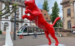 The Cat de Richard Orlinski (Pour Puma). L'Industrie Magnifique à Strasbourg le 03 juin 2021.