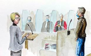Isabelle Fouillot à la barre, la mère d'Alexia Daval, face à Jonathann Daval lors de son procès, le 18 novembre 2020.
