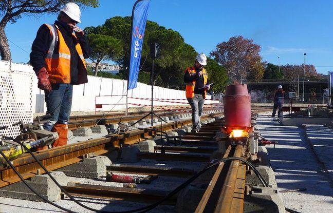 Le chantier de la ligne 2 du tramway, près du centre administratif
