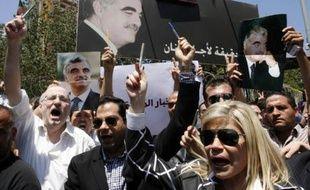 Manifestation des journalistes libanais contre la fermeture des médias instituutionnels par le Hezbollah, le 10 mai 2008, à Beyrouth.