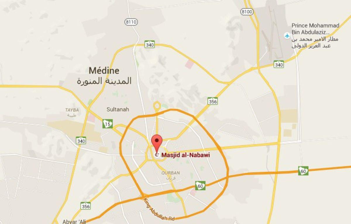 La localisation de la la Mosquée du prophète dans la ville sainte de Médine – Google Maps