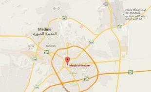 La localisation de la la Mosquée du prophète dans la ville sainte de Médine