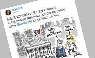 Capture d'écran d'une caricature publiée par Plantu sur Twitter le 19 juin 2017.