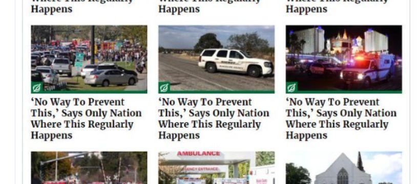 Depuis 2014,  @TheOnion  (l'équivalent du Gorafi aux États-Unis) publie le même article à chaque tuerie de masse.