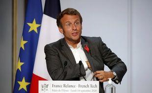 Emmanuel Macron lors de sa rencontre à l'Elysée avec les acteurs de la French Tech, le 14 septembre 2020.