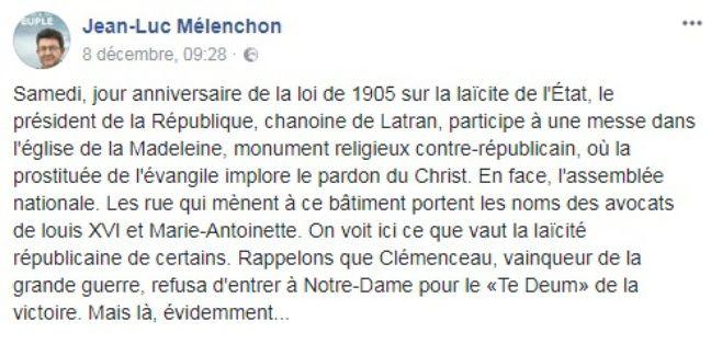 Statut Facebook de Jean-Luc Mélenchon le 8 décembre 2017.