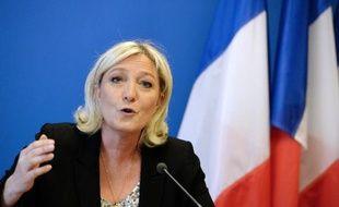 Marine le Pen lors de sa conférence de presse le 25 mars 2014 au siège du Front National à Nanterre