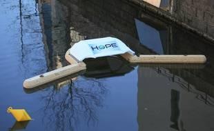 Dispositif H2ope pour capter les déchets plastiques dans les cours d'eau. Strasbourg le 14 février 2019.