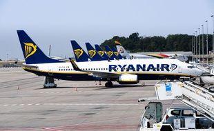 De avions de Ryanair à l'aéroport de Charleroi, en Belgique.