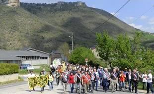 Manifestation contre les gaz de schiste, le 17 avril 2011 à Nant, dans l'Ardèche.