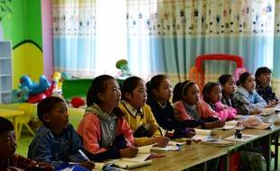 Illustration d'enfants tibétains dans le sud de la Chine.