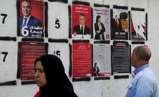 Des affiches à Tunis pour la campagne présidentielle le 4 septembre 2019.