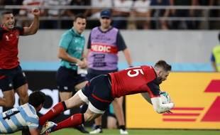 L'Anglais Daly inscrit un essai lors du match contre l'Argentine, le 5 octobre 2019 à Tokyo.