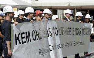 Des salariés de Kem One manifestent à Lyon, le 9 septembre 2013