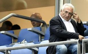 Dominique Strauss-Kahn assiste à la finale PSG-Auxerre de la Coupe de France de foot le 30 mai 2015 au Stade de France