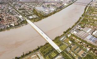 Vue aérienne du futur pont Simone-Veil entre Bègles et Floirac