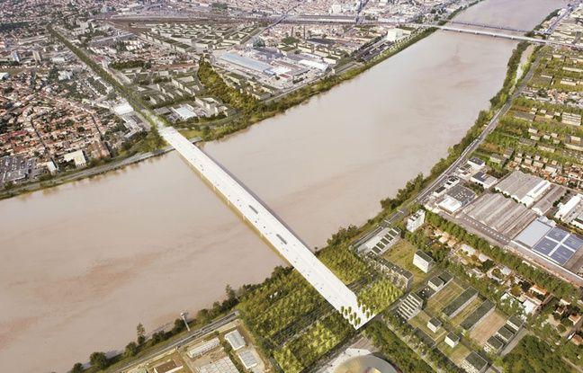 Vue aérienne du futur pont Simone Veil entre Bègles et Floirac
