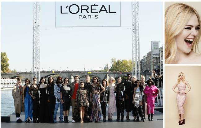L & # 39; Oréal Paris ambassadors at the end of the parade on 30 September 2018 and Elle Fanning.