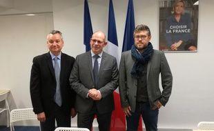 Les têtes de liste Rassemblement national : de gauche à droite, Philippe Guérard à Hellemmes, Eric Cattelin-Denu à Lille et Maxime Moulin à Lomme.