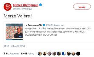 Nîmes taquine Valère Germain après la victoire contre l'OM.