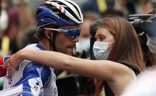 Thibaut Pinot, dépité après l'arrivée du Tour de France à Loudenvielle, samedi.