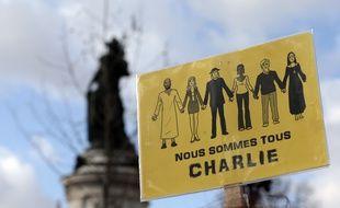 Une pacarte brandie lors de la Marche républicaine du 11 janvier 2015 à Paris.