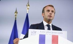 Emmanuel Macron, president de la Republique lors du lancement par le president de la Republique de la strategie de prevention et de lutter contre la pauvrete au Musee de l'Homme. Mardi 18 septembre, Emmanuel Macron poursuit sur les annonces de grandes réformes avec un plan santé.
