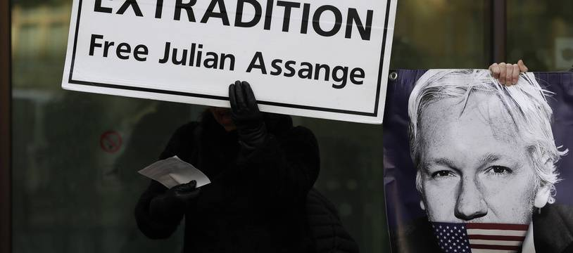 Manifestation contre l'extradition de Julian Assange, à Londres le 13 janvier 2020.