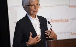 Christine Lagarde, directrice du FMI, lors d'une conférence sur la situation financière mondiale, le 30 septembre 2015 à Washington