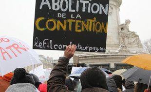 Une pancarte lors de la manifestation des personnels de psychiatrie, le 22 janvier 2019 à Paris.