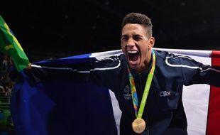 Tony Yoka a remporté la médaille d'or en boxe aux Jeux olympiques de Rio, le 21 août 2016.