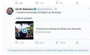 Capture d'écran d'un tweet supprimé sur le compte du président brésilien Jair Bolsonaro.