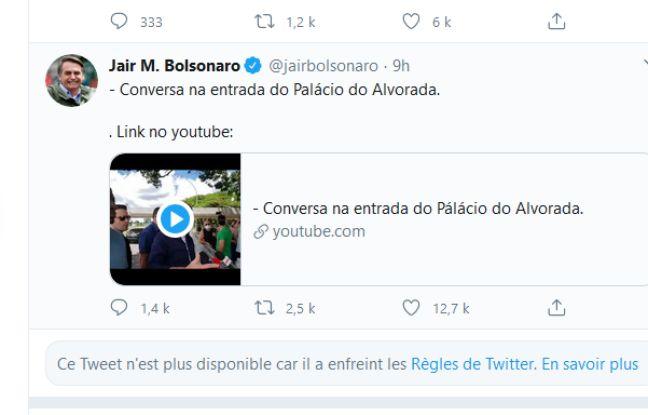 Coronavirus : Twitter supprime deux posts de Bolsonaro remettant en cause le confinement