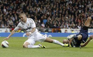 Karim Benzema, l'attaquant du Real madrid, le 18 mars 2012, au stade SantiagoBernabeu contre Malaga.