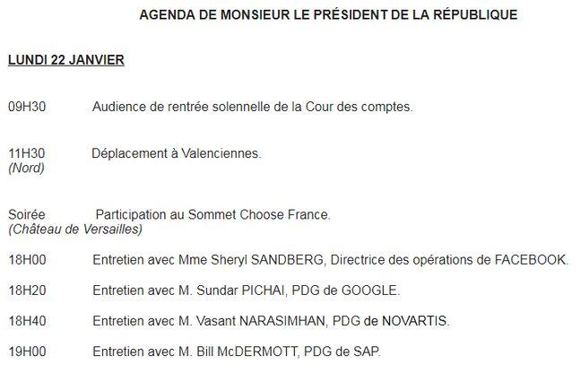 L'agenda d'Emmanuel Macron pour le 22 janvier 2018.