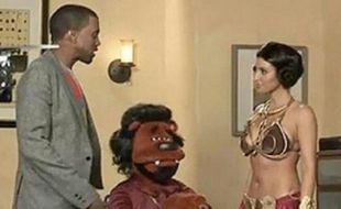 Kanye West et Kim Kardashian, en 2008, sur le tournage d'un sketch parodique de «Star Wars», qui n'a jamais été diffusé.