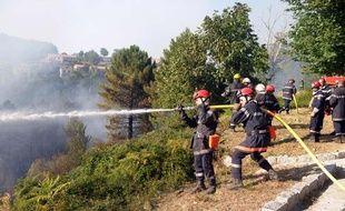Les pompiers tentent d'éteindre le feu qui menace Aullène au sud de la Corse, le 25 juillet 2009.