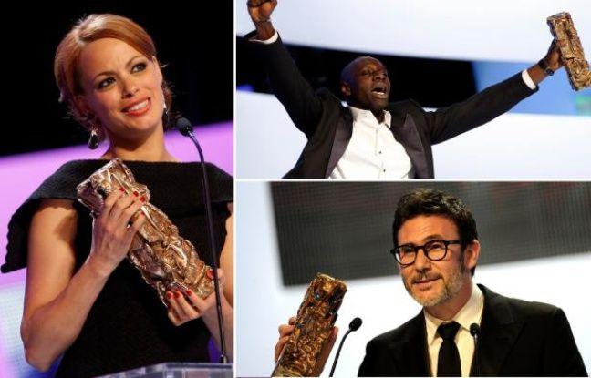 Bérénice Bejo, Omar Sy et Michel Hazanavicius, aux César 2012, le 24 février.