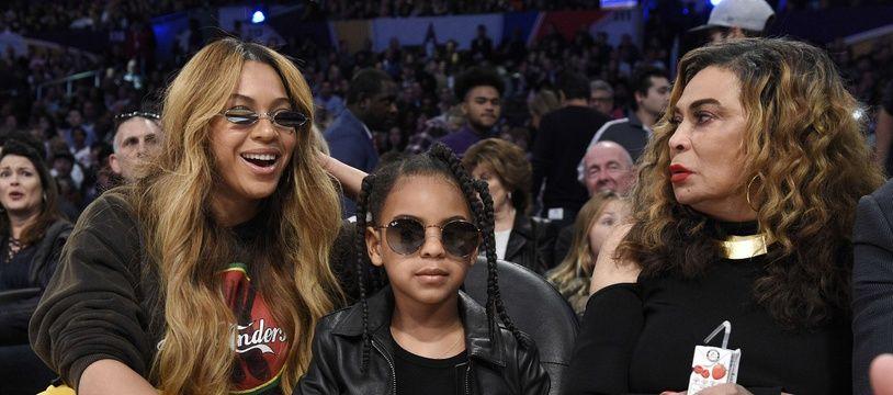 Beyoncé, Blue Ivy et Tina Knowles le 19 février 2018 à Los Angeles.